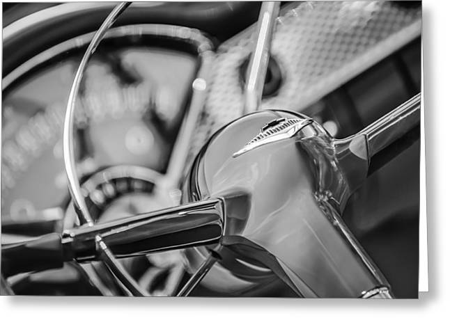 1955 Greeting Cards - 1955 Chevrolet Bel Air Convertible Steering Wheel Emblem -0976bw Greeting Card by Jill Reger