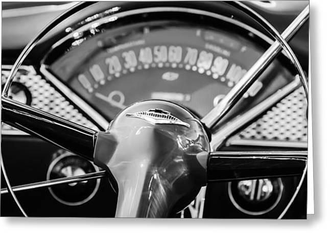 1955 Greeting Cards - 1955 Chevrolet Bel Air Convertible Steering Wheel Emblem -0992bw Greeting Card by Jill Reger