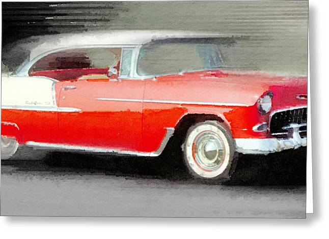 Chevrolet Greeting Cards - 1955 Chevrolet Bel Air Coupe Watercolor Greeting Card by Naxart Studio