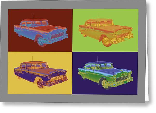 1955 Digital Art Greeting Cards - 1955 Chevrolet Bel Air Pop Art Greeting Card by Keith Webber Jr