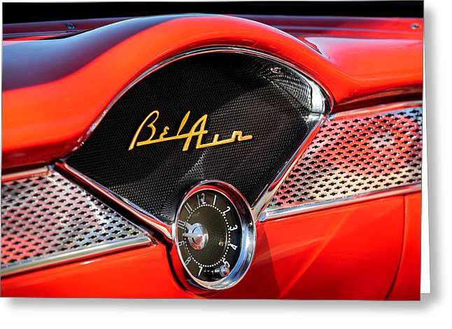Photos Of Car Greeting Cards - 1955 Chevrolet Belair Dashboard Emblem Clock Greeting Card by Jill Reger