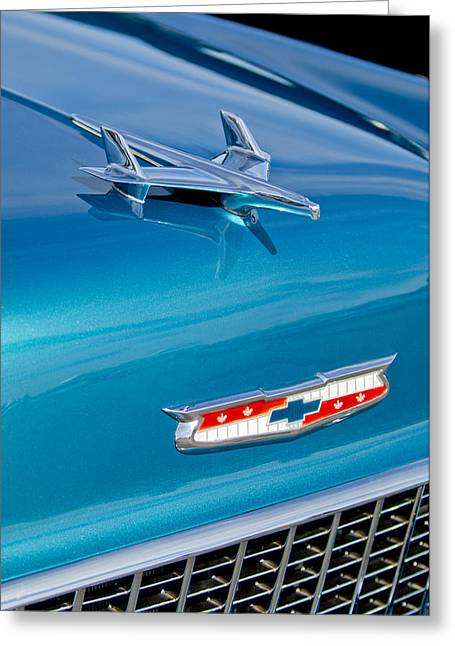 1955 Greeting Cards - 1955 Chevrolet BelAir Hood Ornament 7 Greeting Card by Jill Reger
