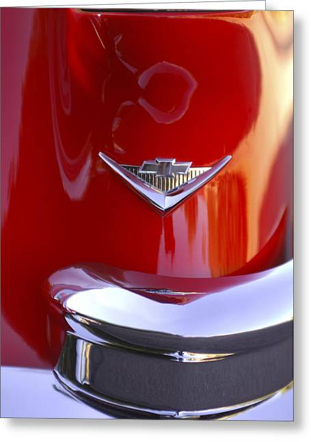 Car Part Greeting Cards - 1955 Chevrolet Belair Nomad Emblem Greeting Card by Jill Reger