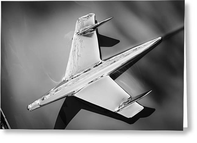 1955 Greeting Cards - 1955 Chevrolet Belair Nomad Hood Ornament -037bw Greeting Card by Jill Reger