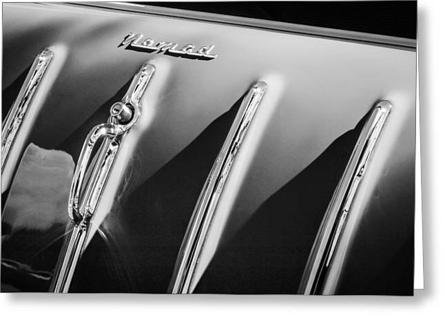 1955 Greeting Cards - 1955 Chevrolet Belair Nomad Hood Ornament -559bw Greeting Card by Jill Reger