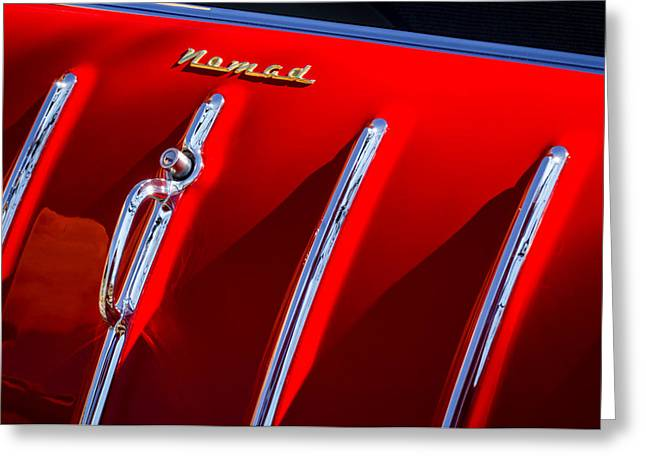1955 Greeting Cards - 1955 Chevrolet Belair Nomad Hood Ornament -559c Greeting Card by Jill Reger
