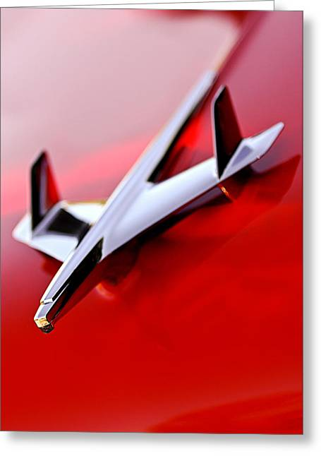 Nomads Greeting Cards - 1955 Chevrolet Belair Nomad Hood Ornament Greeting Card by Jill Reger