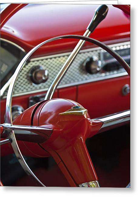 Nomads Greeting Cards - 1955 Chevrolet Belair Nomad Steering Wheel Greeting Card by Jill Reger