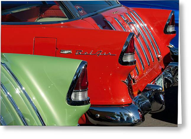 Nomads Greeting Cards - 1955 Chevrolet Belair Nomad Taillights Greeting Card by Jill Reger