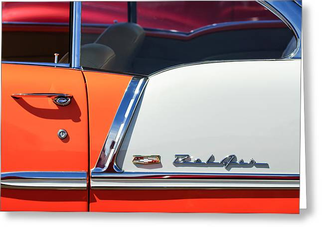 1955 Photographs Greeting Cards - 1955 Chevrolet Belair Side Emblem Greeting Card by Jill Reger