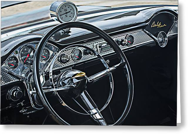 Dashboard Greeting Cards - 1955 Chevrolet Belair Steering Wheel - Dashboard Emblems Greeting Card by Jill Reger