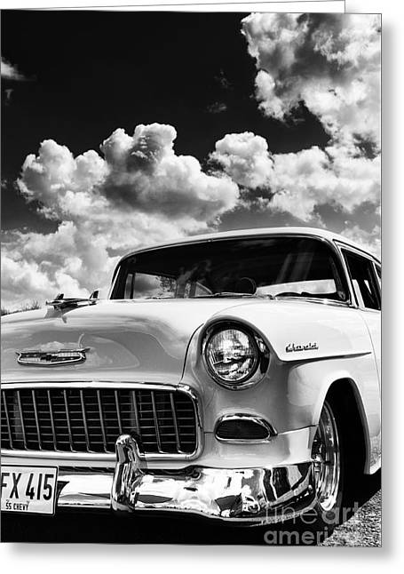 General Motors Company Greeting Cards - 1955 Chevrolet Monochrome Greeting Card by Tim Gainey