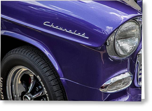Purple V8 Greeting Cards - 1955 Chevrolet Purple Monster Greeting Card by Rich Franco