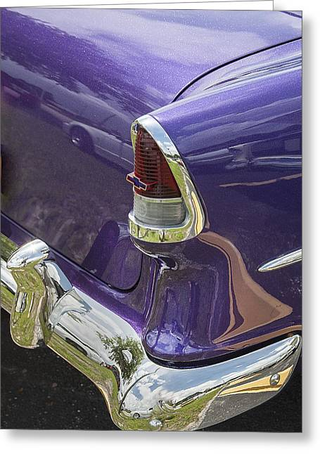 Purple V8 Greeting Cards - 1955 Chevrolet Greeting Card by Rich Franco