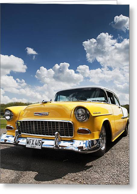 General Motors Company Greeting Cards - 1955 Chevrolet Greeting Card by Tim Gainey