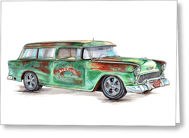 1955 Drawings Greeting Cards - 1955 Chevrolet Wagon Greeting Card by Shannon Watts