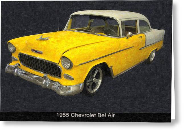 Harvest Art Digital Art Greeting Cards - 1955 Chevy Bel AIr mixed media Greeting Card by Chris Flees