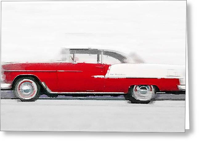 Chevy Greeting Cards - 1955 Chevy Bel Air Watercolor Greeting Card by Naxart Studio