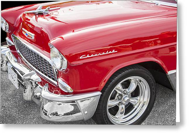 Car Racer Greeting Cards - 1955 Chevy Cherry Red Greeting Card by Rich Franco