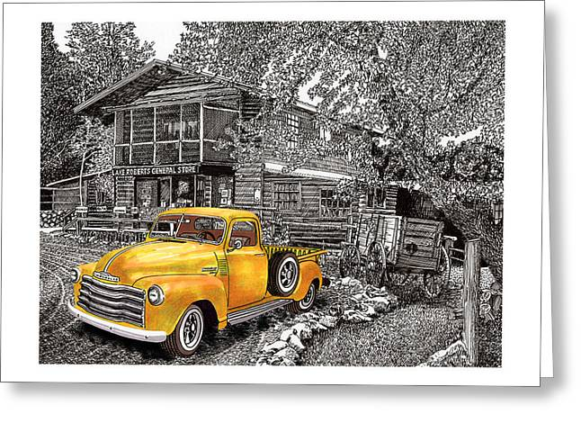 Print On Acrylic Drawings Greeting Cards - 1955 Chevy Pick up Truck in Lake Robers N M  Greeting Card by Jack Pumphrey