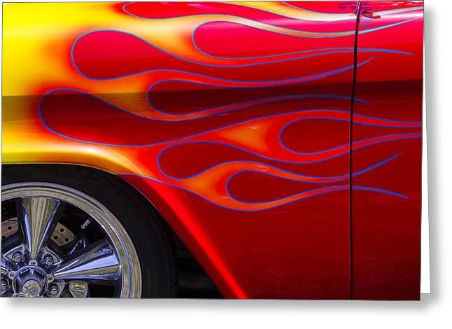Chevy Pickup Greeting Cards - 1955 Chevy Pickup With Flames Greeting Card by Garry Gay