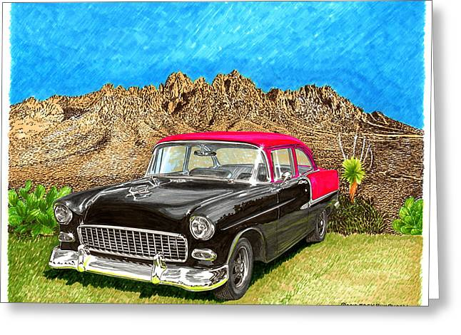 1955 Paintings Greeting Cards - 1955 Chevy Post Organ Mountain National Monument Greeting Card by Jack Pumphrey