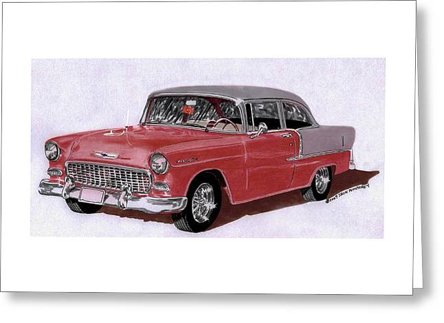 1955 Paintings Greeting Cards - 1955 Chevy Post Streeter Greeting Card by Jack Pumphrey