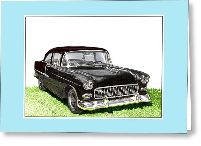 1955 Paintings Greeting Cards - 1955 Chevy Street Rod Greeting Card by Jack Pumphrey