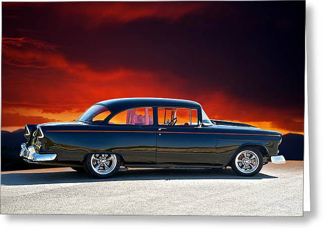 Slam Greeting Cards - 1955 Chevy V Greeting Card by Dave Koontz
