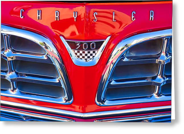 1955 Greeting Cards - 1955 Chrysler C-300 Grille Emblem Greeting Card by Jill Reger
