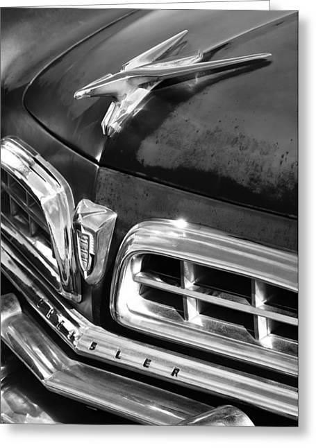 1955 Greeting Cards - 1955 Chrysler Hood Ornament Emblem Greeting Card by Jill Reger