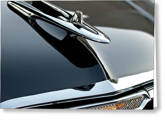 Collector Hood Ornament Greeting Cards - 1955 DeSoto Hood Ornament Greeting Card by Jill Reger