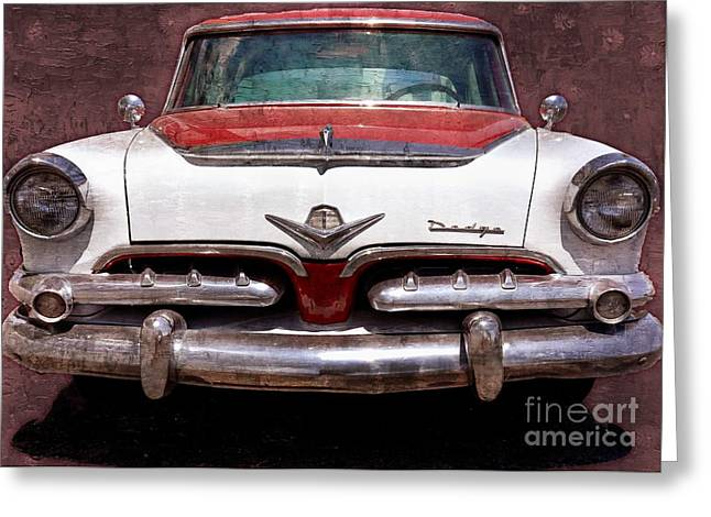 1955 Movies Greeting Cards - 1955 Dodge in Oil Greeting Card by Steve Kelley