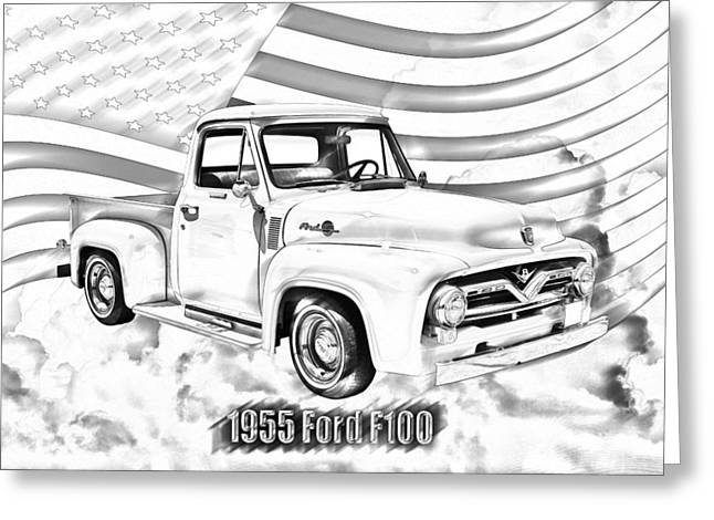 Old Trucks Greeting Cards - 1955 F100 Ford Pickup Truck and Flag Greeting Card by Keith Webber Jr