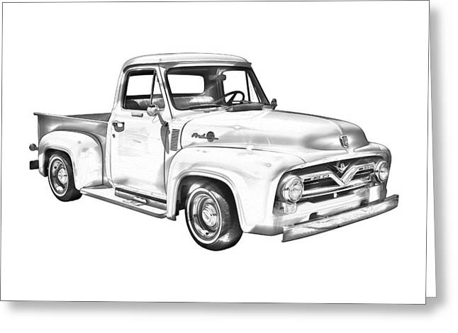 Old Trucks Greeting Cards - 1955 F100 Ford Pickup Truck Illustration Greeting Card by Keith Webber Jr