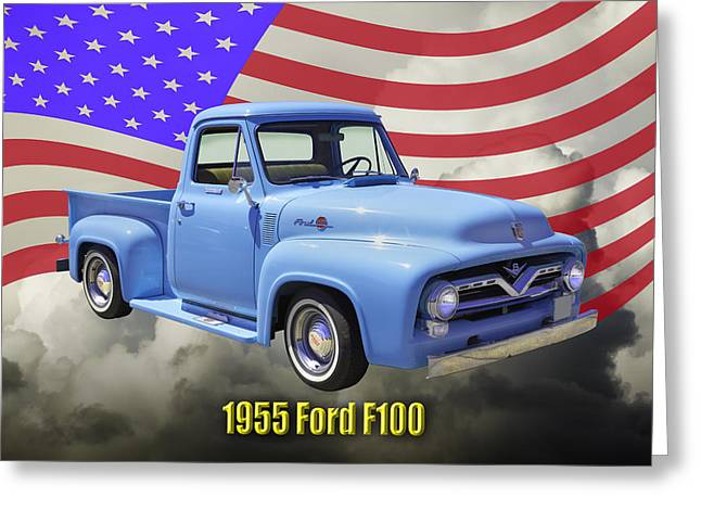 1955 Digital Art Greeting Cards - 1955 F100 Ford Pickup Truck with US Flag Greeting Card by Keith Webber Jr