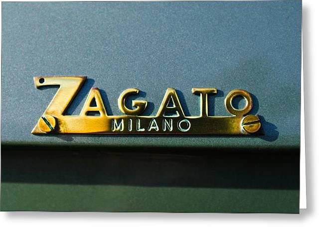 1955 Greeting Cards - 1955 Fiat 8V Zagato Emblem Greeting Card by Jill Reger