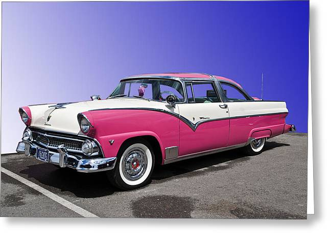 Wheels Greeting Cards - 1955 Ford Crown Victoria Greeting Card by Gianfranco Weiss