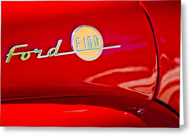 1955 Photographs Greeting Cards - 1955 Ford F-100 Pickup Truck Side Emblem -3515c Greeting Card by Jill Reger