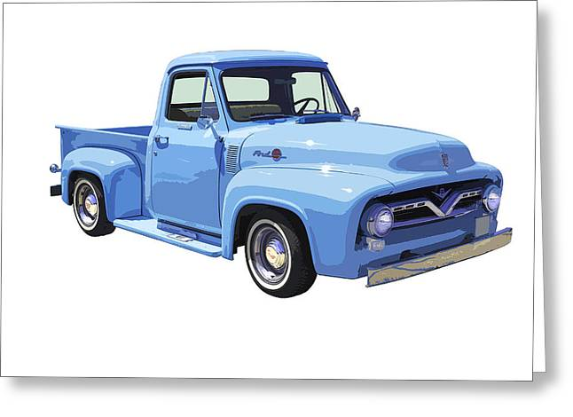 Classic Truck Greeting Cards - 1955 Ford F100 Blue Pickup Truck Canvas Greeting Card by Keith Webber Jr