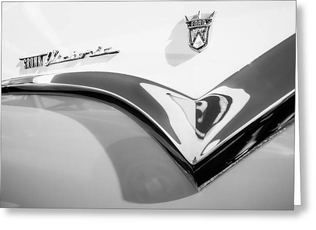 1955 Greeting Cards - 1955 Ford Fairlane Crown Victoria Emblem -0098bw Greeting Card by Jill Reger