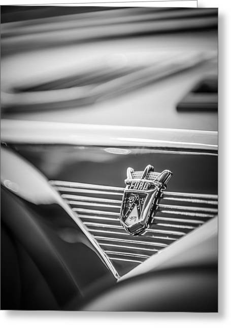 1955 Greeting Cards - 1955 Ford Fairlane Crown Victoria Emblem -1608bw Greeting Card by Jill Reger