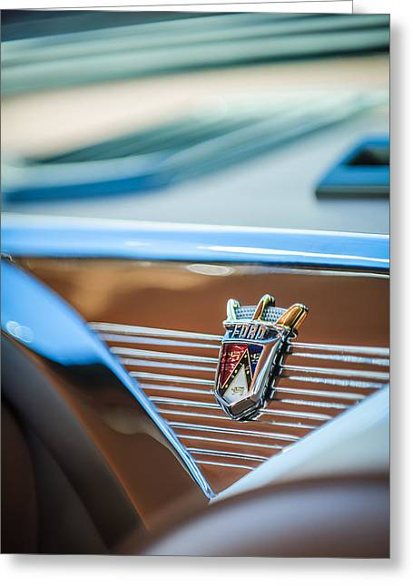 1955 Greeting Cards - 1955 Ford Fairlane Crown Victoria Emblem -1608c Greeting Card by Jill Reger