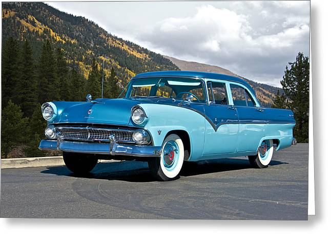 Family Car Greeting Cards - 1955 Ford Fairlane Greeting Card by Dave Koontz