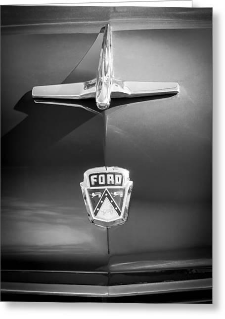 1955 Greeting Cards - 1955 Ford Hood Ornament - Emblem -1392bw Greeting Card by Jill Reger