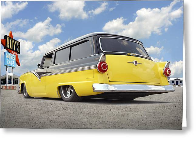 Lowrider Greeting Cards - 1955 Ford Parkline Low Greeting Card by Mike McGlothlen