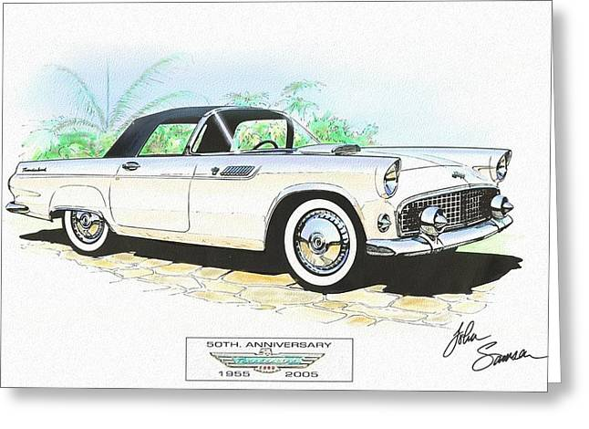 Fine Mixed Media Greeting Cards - 1955 FORD THUNDERBIRD   white  classic car art sketch rendering Greeting Card by John Samsen