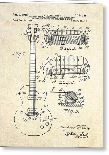 Guitar Drawings Greeting Cards - 1955 Gibson Les Paul Patent Drawing Greeting Card by Gary Bodnar