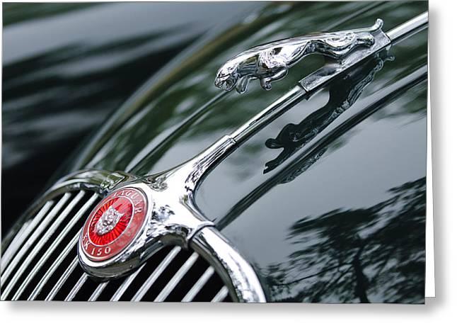 Jaguar XK 150 Hood Ornament  Greeting Card by Jill Reger