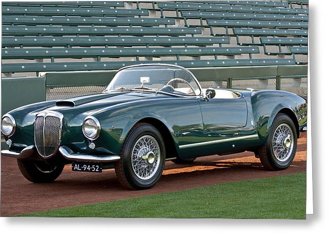 Spyder Greeting Cards - 1955 Lancia Aurelia B24 Spyder America Roadster Greeting Card by Jill Reger